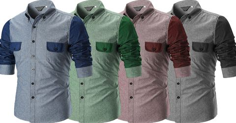 Combo of 4 New Men's Branded Patchwork Slim Fit Men's Cotton Shirts