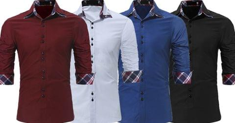 Combo of 4 New Fashionable Plaid Printed Plain Slim Fit Men's Shirts