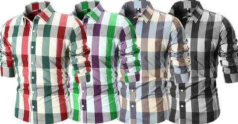 Combo of 4 New Fashionable Stylish Plaid Color Block Slim Fit Check Shirts for Men