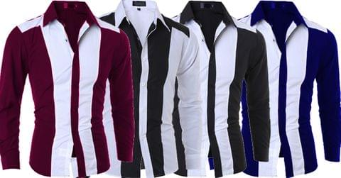 Combo of 4 New Fashionable Four Color with White Patchwork Color Block Slim Fit Men's Shirts