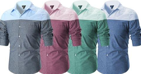 Combo of 4 New Fashionable Patchwork Slim Fit Men's Shirts