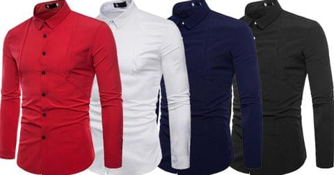 Combo of 4 New Fashionable Stylish Solid Color Slim Fit Men's Shirts