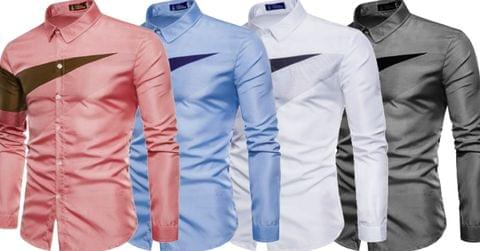 Combo of 4 New Fashionable Stylish Color Block Plain Men's Shirts