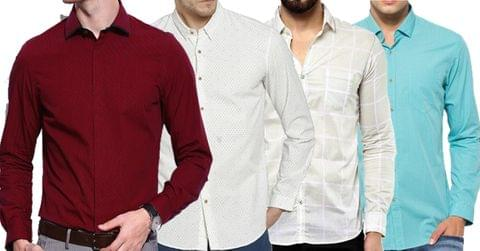 Combo of 4 New Fashionable Solid Color Slim Fit Formal Shirts