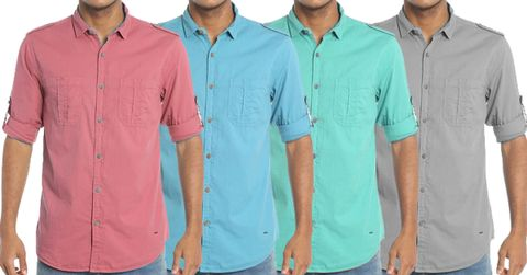 Combo of 4 New Fashionable Solid Slim Fit Casual Shirts for Men