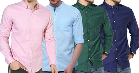 Combo of 4 New Fashionable Solid Reversible Slim Fit Casual Shirts
