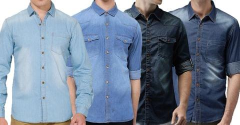 Combo of 4 New Fashionable Washed Denim Shirts
