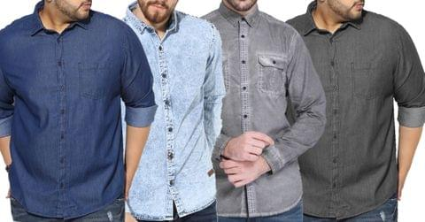 Combo of 4 New Fashionable Washed Slim Fit Denim Shirt