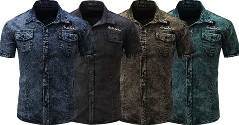 Combo of 4 New Fashionable Brand New Short Sleeve High Quality Men's Denim Shirts