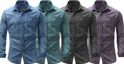 Combo of 4 New Fashionable Full Sleeve Solid Streetwear Men's Denim Shirts
