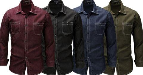 Combo of 4 New Fashionable Denim Washed Work More pockets Men's Long Sleeve Button Down Shirts