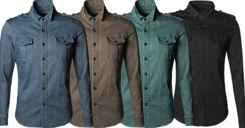 Combo of 4 New Denim Uniform Men's Casual Long Sleeve Slim Fit Jeans Shirts