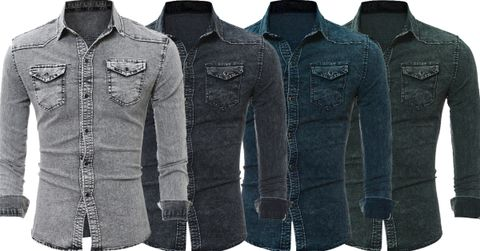 Combo of 4 New Hot Long Sleeve Casual Stylish Wash Slim Fit Denim Shirts for Men