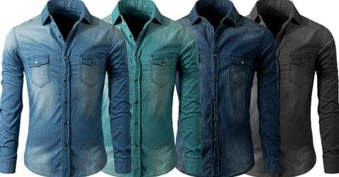 Combo of 4 New High quality men's 100% cotton men's long sleeved Denim Shirts