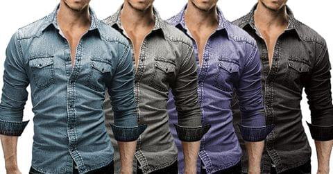 Combo of 4 New High quality Long Sleeve Casual Solid Color Denim Slim Fit Shirts for Men