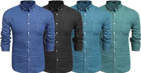 Combo of 4 New High quality Long Sleeve Button Down Denim Shirts for Men
