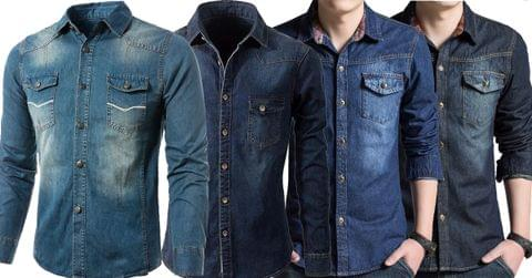 Combo of 4 New Long Sleeve High Quality Turn-down Collar Slim Fit Jeans Shirts for Men