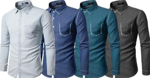 Combo of 4 Quality New Men's Denim Long Sleeve Casual Classic Western Shirts