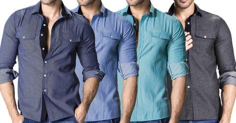 Combo of 4 Fashionable Men's Denim Cotton Slim Fit Jeans Shirts