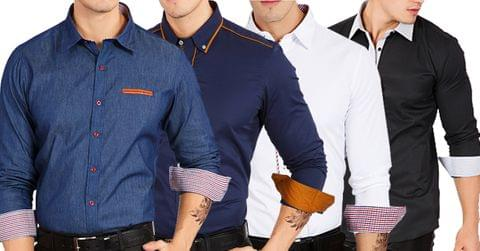 Combo of 4 Fashionable 100% Cotton Slim Fit Casual Long Sleeve Men's Shirts