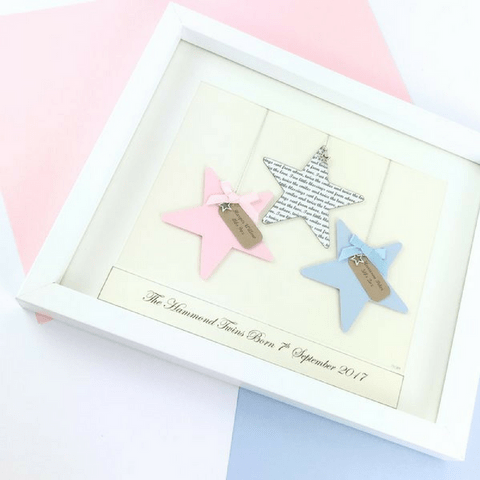 Baby Twins - Personalised Frame - Stars
