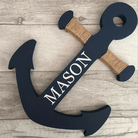 Wooden Anchor - Navy