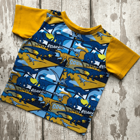 Baby T Shirt - Yellow Dinosaur