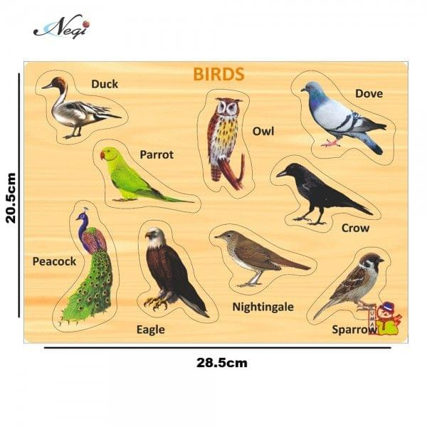 Negi Wooden Colorful Learning Educational Puzzle Board for Kids With Knobs, Educational Learning Wooden Board Tray, Size- 28.5cm X 20.5cm, Available in 8 Different Variants (Birds)