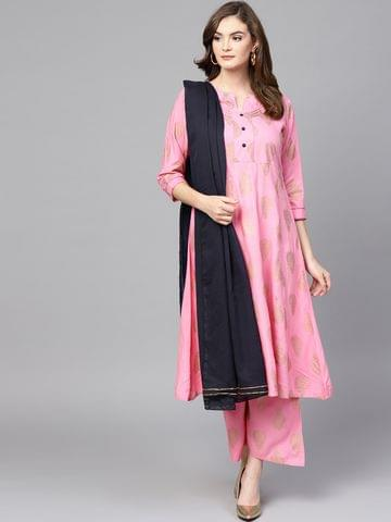 Women Pink & Navy Blue Printed Kurta with Palazzos & Dupatta