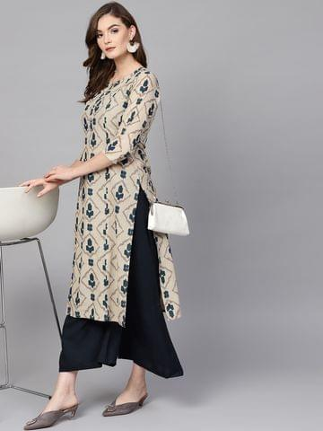 Women Beige & Blue Printed Kurta with Palazzos