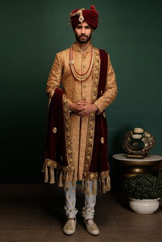 Gold Dori Work Sherwani Set