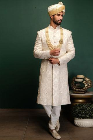 Ivory Dori & Pearl Work Sherwani With Churidaar