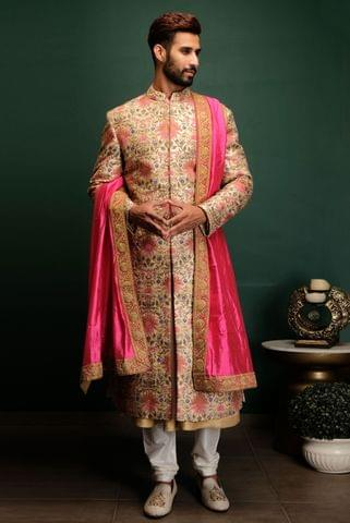 Cream Dori Work Sherwani Set