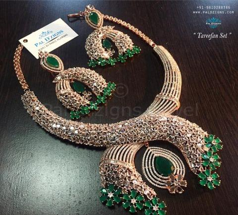 Tareefan Diamond Bridal Necklace set