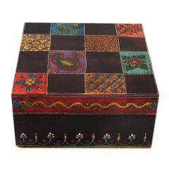 Artisan Crafted Painted Wood Decorative Box and Lid, 'Jodhpur Gala' (box09)