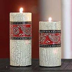 Crackle finish candle holder set (Big) ch07