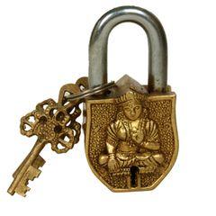 Purpledip Handmade Brass Antique Pad Lock with Tara Idol (10009) Buddhism Gift