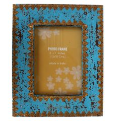 Purpledip Distress finish photo frame with brass adornments for 5x7 inch picture size,Blue Color (10125)