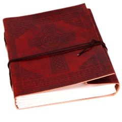 Purpledip Leather Diary / Journal / Notebook with Handmade Paper for Corporate Gift or Personal Memoir: 'Celtic Cross' (10154))
