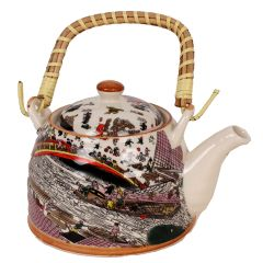 Purpledip Beautifully painted Ceramic Kettle (10144)