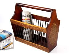 Purpledip Wooden Painted Brass Embossed Magazine Holder Basket (10157)