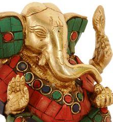 Purpledip Unique Brass Appu Ganesha with stonework (10228)