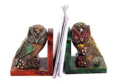Wooden Bookends 'Wisdom Owl': Hand Painted Books Stand (10300)