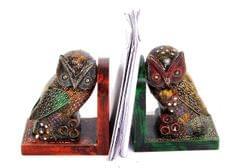 Purpledip handpainted wooden Owl shaped bookends (10300)
