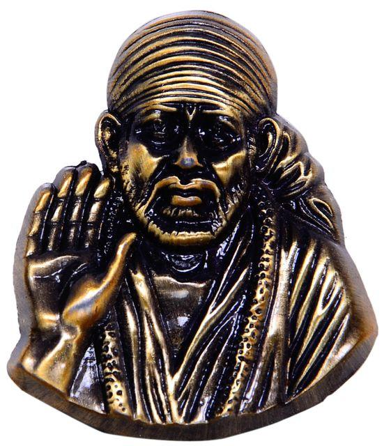 Purpledip Shirdi Sai Baba Miniature Metallic Idol/Statue for Table Top, Home Temple, Car Dashboard in Vintage Finish (10342)