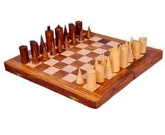 "Purpledip Wooden Chess Set with Modernist Design Pieces ""Euclid's Grid"" (10411)"