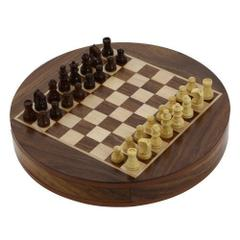 Purpledip Mini Chess Set with Wooden Pieces and Round Board (10414)