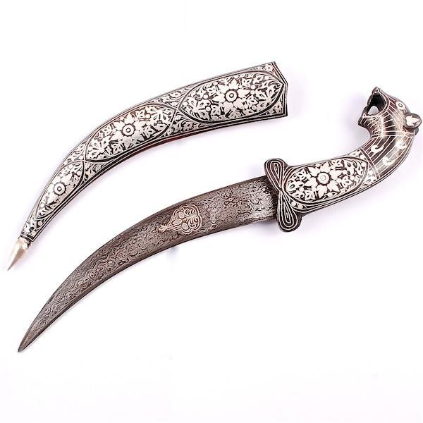 Purpledip Koftgiri work decorative Dagger with Tiger Head (a111)