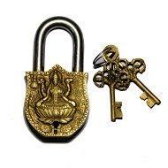 Purpledip Handmade Brass Antique Pad Lock with Maa Laxmi Idol,Medium (10465)