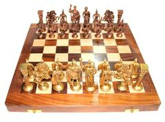 "Purpledip Chess Set with Brass Sculpted Pieces in Ancient Roman Style and Wooden Board ""Golden Era"": Strategy Board Game with Universal Rules; Loved Alike by Kids and Adults of All Ages (10504)"